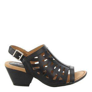 B.O.C. Dixie Black Wedge Sandals w/Laser Cutouts - 7M - New in box